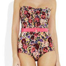 My favorite swimsuit! Savannah Floral-Print Strapless Swimsuit.