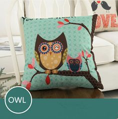 Find More Pillow Case Information about OWL Pattern Fashion Linen Cushion/pillow Case Home Decorative  Pillowcase Bedroom Pillowcover 45*45cm,High Quality sofa cushion filling,China sofa futon Suppliers, Cheap cushion cut halo engagement ring from Winne on Aliexpress.com