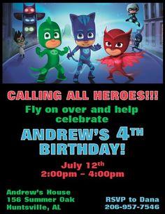 PJ Masks Invitations 3 Pj Mask Party 5th Birthday Ideas