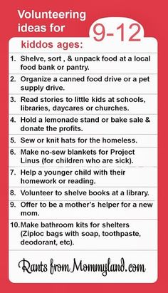 volunteer ideas for kids, kid age