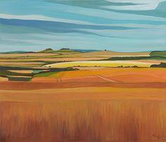 Landscape Paintings and photographs Picture Description From Anna Dillon's wonderful Oxfordshire series Watercolor Landscape, Landscape Art, Landscape Paintings, Watercolor Paintings, Fields In Arts, Minimalist Landscape, Southwest Art, Artist Painting, Painting Inspiration