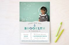 Deep Sea Diver Children's Birthday Party Invitations by Curious and Co. Creative at minted.com