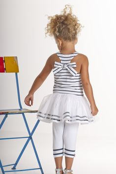 Kate Mack - Seaside Petals Girl's Striped Knit Tunic with Netting Overlay and Legging in White / Navy : 2pc Sets