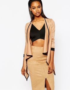 Boohoo Contrast Piping Waterfall Duster Cardigan | #Chic Only #Glamour Always