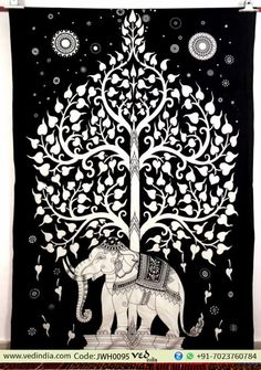 Kayso Elephant Tree Tapestry with Good Luck White Elephant Tapestry Hippie Gypsy Wall Hanging Tree of Life Tapestry and New Age Dorm Tapestry, White/Black Tapestry Bedding, Dorm Tapestry, Bohemian Tapestry, Indian Tapestry, Mandala Tapestry, Tapestry Wall Hanging, Dorm Bedding, Hippie Tapestries, Wall Hangings