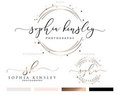 Design de Logo or rose, Rose Or marque kit, Kit de marque Premade, Rose Or Design de carte de visite, Logo cercle, tampon Logo, calligraphie