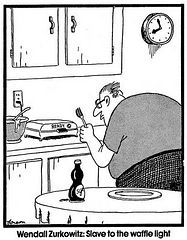 """The Far Side"" by Gary Larson. Needless to say, Wendall, forgot to plug in the waffle iron and spent hours observing. Far Side Cartoons, Far Side Comics, The Far Side, Gary Larson Far Side, Gary Larson Cartoons, Art Spiegelman, Cartoon Jokes, The Funny, Funny Shit"