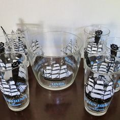 Vintage Clipper Ship Drink Set #duckwells #ship #midcentury #barware #etsy #etsyshop #pin #clippership #vintageshop #vintagehome #nautical #nauticaldecor