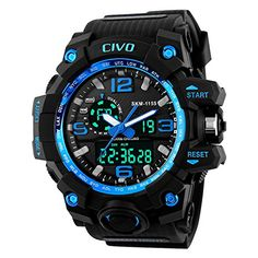CIVO Mens Boys Analogue Digital 50M Waterproof Military Sport Watch Mens Big Face Dual Dial Business Casual Multifunction LCD Back Light Electronic Wrist Watches Shock Resistant Wristwatch (Blue)