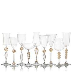 vetro vero: true glass. - gold and crystal stemware