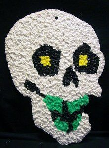 Vintage Halloween Popcorn Decoration ~ White Skull