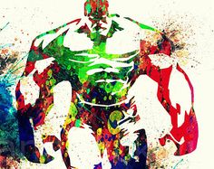 Incredible Hulk Poster Avengers Watercolor Digital poster The Avengers poster download Superhero wall art A3 Marvel Comic poster DP-21