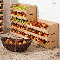 Food stacking shelves – Famous Last Words Kitchen Pantry, Kitchen Storage, Veg Garden, Home And Garden, Garden Projects, Wood Projects, Vegetable Rack, Diy Vegetable Storage, Stacking Shelves