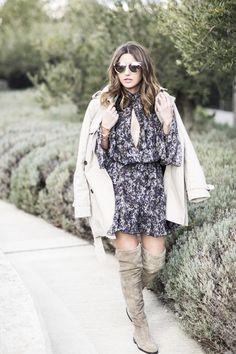 [ flowy dress + OTK boots + trench coat ]