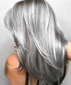 Ash Grey Hair, Brown Ombre Hair, Grey Wig, Silver Grey Hair, Ombre Hair Color, Cool Hair Color, Grey Hair Colors, Long Grey Hair, Hair Color Gray Silver
