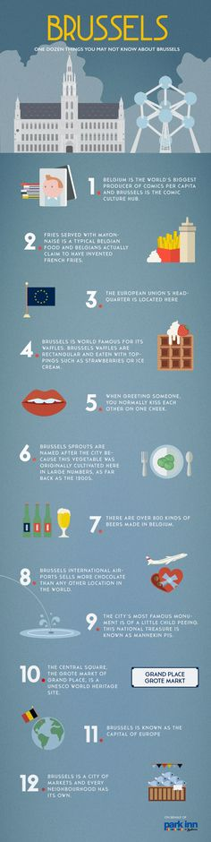One dozen facts about Brussels you may not know - Park Inn by Radisson Blog #brussels #belgium #infographic #travel #capitalcities #europe #parkinn #blog