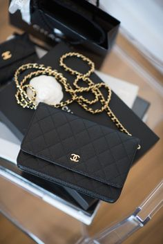 CHANEL wallet on chain black/gold/caviar leather - wishlist - handbags, red, chanel, kate spade, hobo, brahmin purses *ad