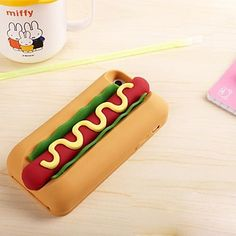 Hot dog 3D Cute Cartoon Soft Silicone Case for iPhone 5/5S – USD $ 6.99