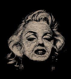 Marilyn Monroe - Forever Old by teokon, Handmade woodcut 26x30 cm.