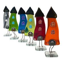 Glashuse til pynt i mange farver