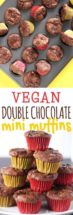 Don't be fooled by their size, these vegan mini muffins pack a double dose of chocolatey goodness! This recipe is quick, easy and perfect for kids and adults alike! (Paleo Breakfast For Kids) Mini Desserts, Jelly Desserts, Desserts To Make, Vegan Sweets, Vegan Snacks, Vegan Recipes, Vegan Food, Vegan Dishes, Healthy Snacks