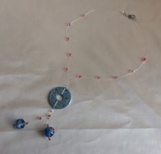 Collana con rondella dipinta e perle in vetro di Murano : Collane di queen-dody-dreams