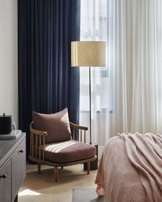 Steal This Look: A Scandi Bedroom in a SoHo Hotel - Remodelista Scandi Bedroom, Cozy Bedroom, Bedroom Decor, Navy Curtains Bedroom, Bedroom Ideas, Dusty Pink Curtains, Dark Blue Curtains, Blue Velvet Curtains, Lounge Curtains
