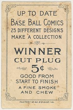 Card verso from the Baseball Comics series (T203) promoting Winner Cut Plug Tobacco