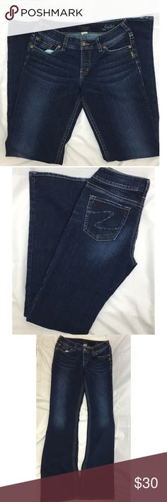 SILVER SUKI JEANS NEW CONDITION SIZE 29 Silver suki dark blue boot cut jeans. Like new condition. Size 29. Inseam approximately 34 inches. Rise approximately 8 inches Silver Jeans Jeans Boot Cut