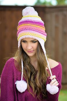 Winter Fashion, Winter Hat, Pom pom Hat, Striped Knit Hat, Pom Tie Hat, Earflap Hat- Gumdrops