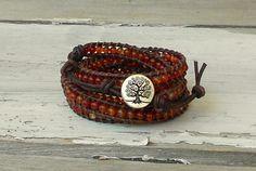 Carnelian beaded leather wrap bracelet featuring by philosophias, $65.00