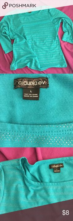 """Turquoise 3/4 Sleeve  Top With Silver Accents 3/4 Sleeve turquoise shirt with silver stripes. The silver is slightly raised (but not like studded more thread like) that gives a fun texture. Suggested to hand wash. Bust 20"""" flat, has some stretch. Claudia Ev Tops Tees - Long Sleeve"""