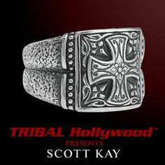 ENGRAVED IRON CROSS MEN'S RING in Hand Forged Sterling Silver by Scott Kay - TRIBAL Hollywood