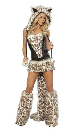 Leopard Catwoman cosplay party dress Halloween game