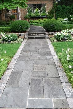 Stunning front walkway - go and visit our piece for more inspiring ideas! Front Walkway Landscaping, Paver Walkway, Stone Walkway, Backyard Landscaping, Brick Path, Backyard Patio, Concrete Garden Edging, Patio Makeover, Back Patio