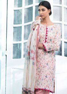 Buy Malhar Lawn Printed Bamboo Summer 2019 Collection Printed Lawn Unstitched 3 Piece Suit from Sanaulla Store - Original Products. Sleeves Designs For Dresses, Neck Designs For Suits, Neckline Designs, Dress Neck Designs, Pakistani Fashion Casual, Pakistani Dresses Casual, Pakistani Dress Design, Muslim Fashion, Stylish Dress Designs