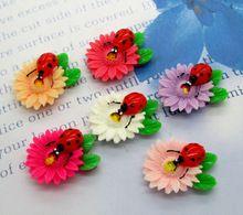 20Pcs Mixed Resin Ladybird Flower Leaf Flatback Cabochon Scrapbook 32x24mm(China (Mainland))