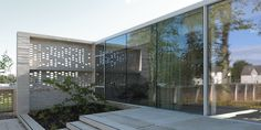 A perforated brick wall encloses a series of internal courtyards and gardens at the Maggie's Centre for cancer care, designed by Reiach and Hall Architects. Hospital General, New Hospital, Internal Courtyard, Brick Architecture, Interior Concept, Brickwork, Terrace Garden, Brick Wall, Gallery