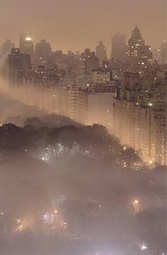 New York in the fog