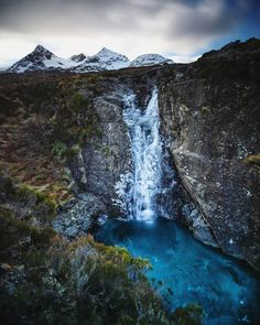 Frozen waterfalls beneath the Cuillins on the Isle of Skye, Scotland.