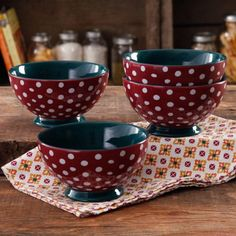 """The Pioneer Woman Retro Dots 6"""" Footed Bowl, 4-Pack I want 2 sets of these"""