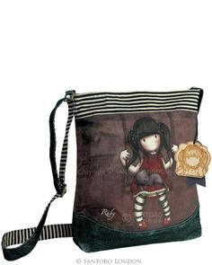 Gorjuss Wool Shoulder Bag with the character Gorjuss Ruby Patchwork Bags, Quilted Bag, Santoro London, Ankle Jewelry, Fabric Purses, Large Shoulder Bags, Denim Bag, Bag Organization, Handmade Bags