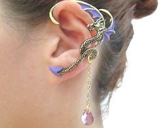 Dragon ear cuff with purple wings and purple tear drop chain