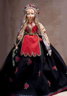 ОЧЕНЬ редкая салонная итальянская кукла LENCI в русском костюме, 70 см высота!