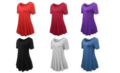 JollieLovin Women's Short Sleeve Loose Fit Flare Hem T Shirt Tunic Top at Amazon Women's Clothing store: