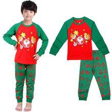 2016 Autumn Toddler Kids long sleeve sets Boys Girls Christmas Santa Claus Clothes T-shirt+ Pants Outfits Set(China (Mainland))