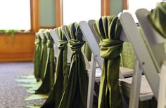 Sash style: great way to do sashes on standard folding chairs, put a little flower or something in the back of the chairs on the back row for the ceremony!