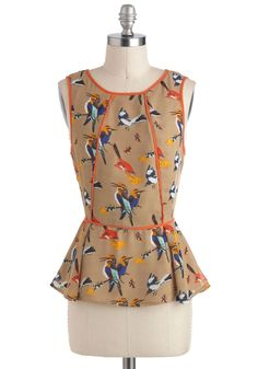 Good to Migrate Top - Yellow, Red, Blue, Pink, Party, Sleeveless, Mid-length, Print with Animals, Peplum