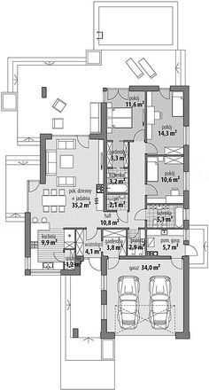 Rzut parteru projektu Miriam III Round House Plans, Modern House Floor Plans, Dream Home Design, House Design, One Storey House, Architectural Floor Plans, Hawaiian Homes, Three Bedroom House Plan, House Layouts