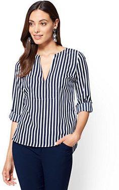 New York & Co. 7th Avenue - V-Neck Popover Blouse - Stripe